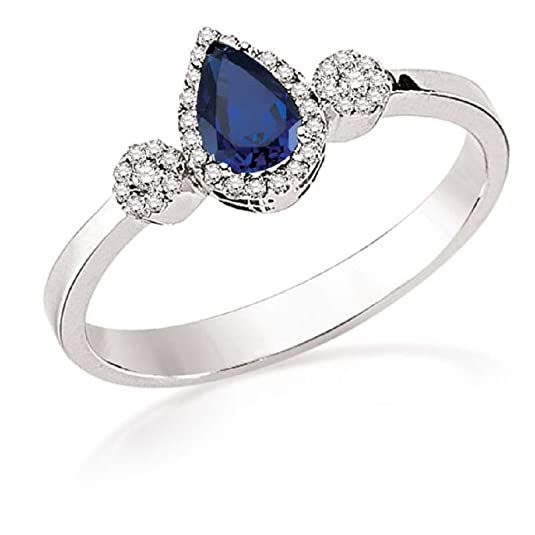 0.37 Carats 18k Solid White Gold Blue Sapphire and Diamond Engagement Wedding Bridal Promise Ring Band