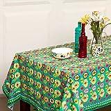 Chumbak Leaf Ikat Cotton Table Cloth - Multicolor