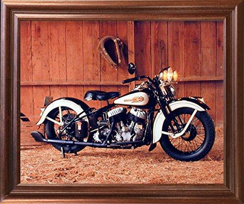 Vintage Flathead Harley Davidson Motorcycle Wall Decor Mahogany Framed Picture Art Print (18x22) 0