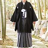 ジュニア男の子 黒紋付袴セット 13才 着流し丈(袴紐下丈80cm)