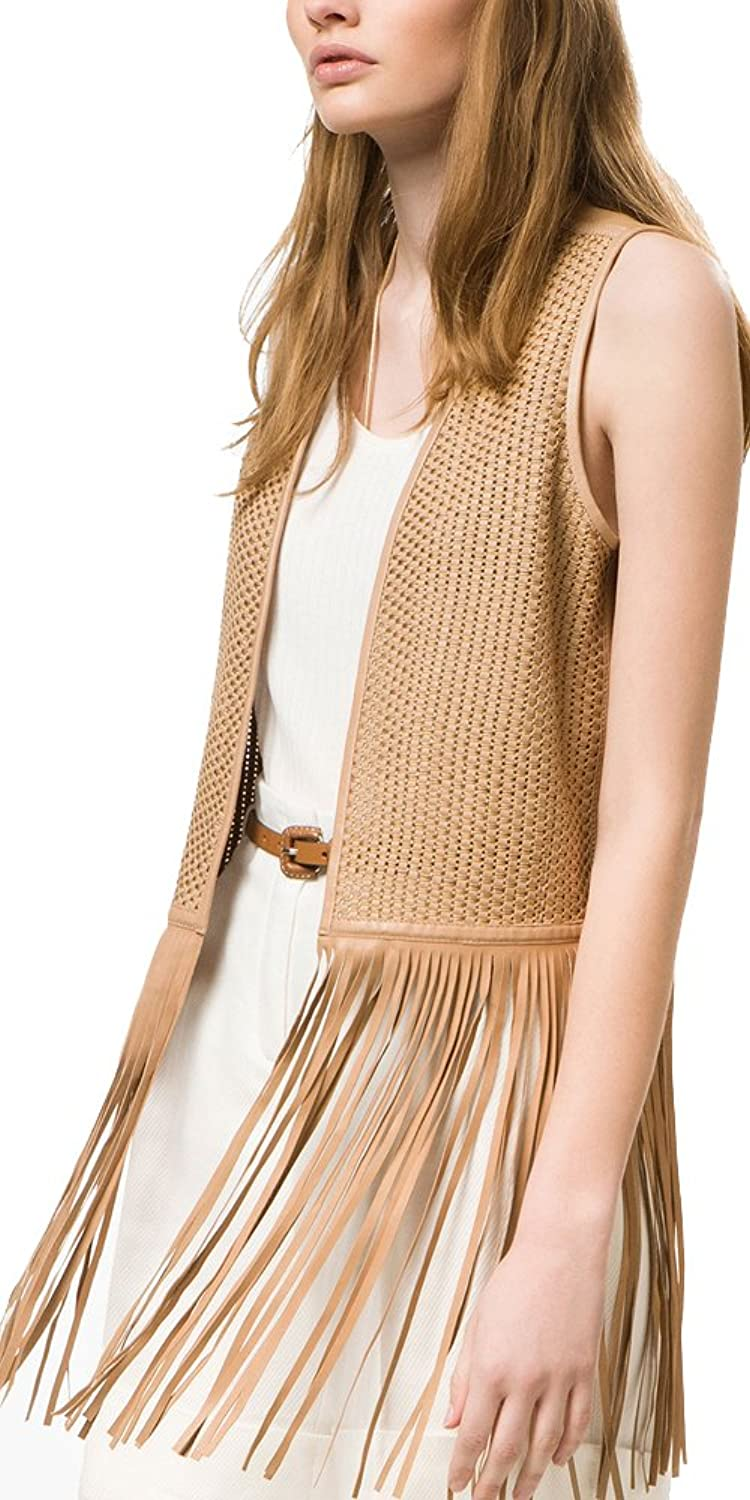цена Massimo Dutti (Zara Group) Women´s Fringed Leather Waistcoat 4720/972 онлайн в 2017 году
