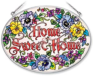 Amia Hand Painted Glass Suncatcher with Home Sweet Home Pansy Floral Design, 5-1/4-Inch by 7-Inch Oval