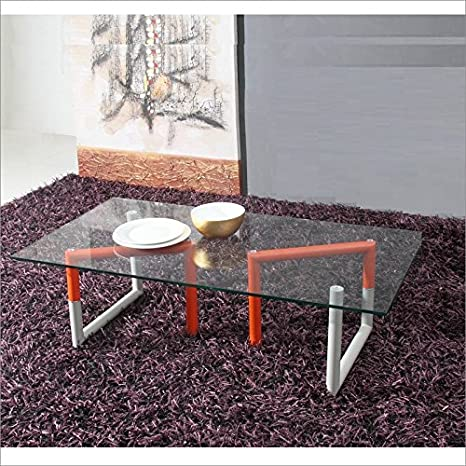 Orange / Gray / Glass Coffee Table by Talenti Casa is part of the TANGLE Collection.