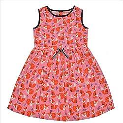 CrayonFlakes Kids Wear for Girls 100% Cotton Sleeveless Frock Cute Fox Print Dress