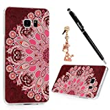 S6 Edge Plus Case,Samsung Galaxy S6 Edge Plus Case - Badalink Full Edge Protection Ultra-thin Snug Fit Print Pattern Light Weight Hard PC Cover with Dust Plug & Stylus Pen - Half Red Totem Flower