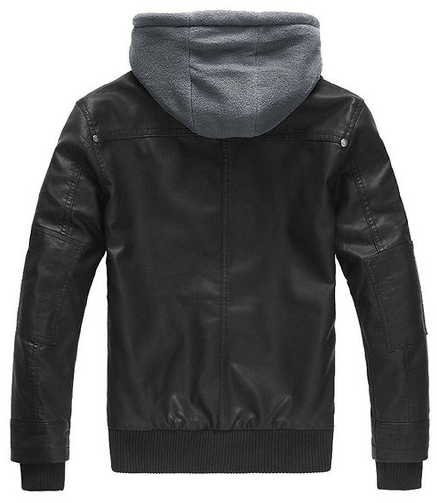 Wantdo Men's Leather Jacket with Removable Hood 2