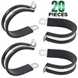 Keadic 20Pcs 1-1/2 Inch (38mm) Rubber Cushioned Insulated Clamps Stainless Steel, Metal Clamp, Tube Holder for Tube, Pipe or Wire Cord Installation (Tamaño: 1-1/2