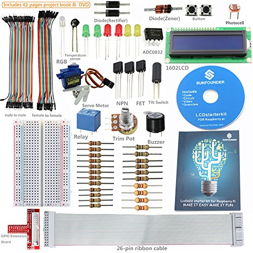 sunfounder-project-lcd-starter-kit-w-gpio-extension-board-1602-lcd-breadboard-jumper-wires-servo-mot