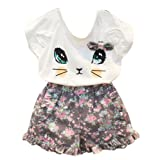 BomDeals Adorable Cute Toddler Baby Girl Clothing 2pcs Outfits (Age(5T), Cat/Short Pants) (Color: Cat/Short Pants, Tamaño: Age(5T))