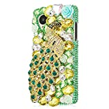 Mavis's Diary Luxury 3D Handmade Green Full Bling Crystal Rhinestone Metal Golden Peacock Design Clear Cover Case for LG Google Nexus 5 with Soft Clean Cloth