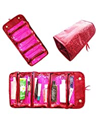 Rimobul Luxury Roll N Go Cosmetic Bag Roll Up Bathroom Organizer Red & Hot Pink (Red & Hot Pink)