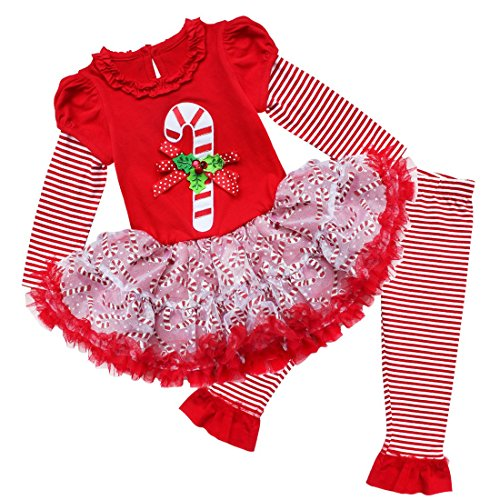 YiZYiF Baby Girl's Christmas Theme Top Tutu Dress with Leggings Clothes Set Red Candy 18-24 Months