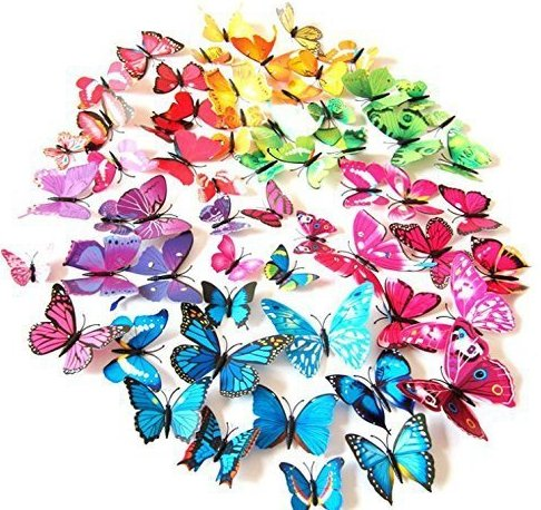 AWAKINK(TM) 72 Pcs 3d Butterfly Stickers Home Decoration DIY Removable 3d Vivid Special Man-made Lively Butterfly Art DIY Decor Wall Stickers for Wall Decor Kids Room Bedroom Living Room 6 Colors