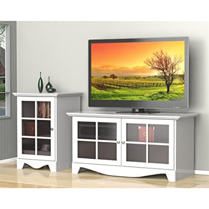 White TV Stand Set with One Door Audio Stand FMP25283