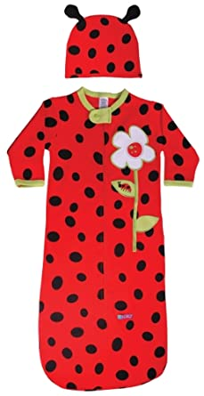 Sozo Baby-Girls Newborn Ladybug Bunting And Cap Set, Red/Black, 0-6 Months