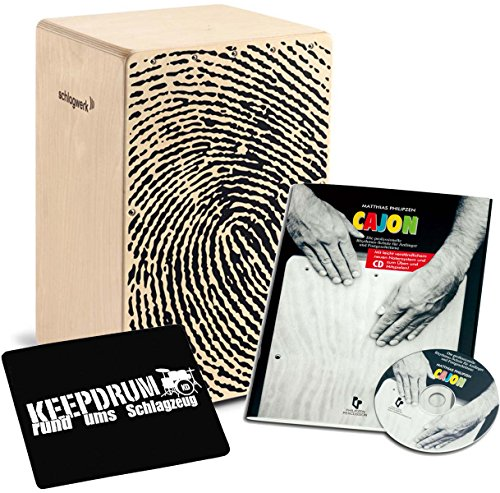 Schlagwerk CP 107 X-One Fingerprint + Cajon manuale RITMO scuola con CD sitzpad KEEPDRUM