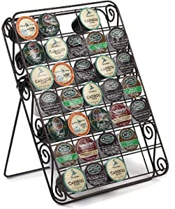 Universal K-cup Storage Rack 35 Capacity Can Be Used on Countertop, Inside Drawer or Mount on Wall, Hammered Bronze Scroll Design by Spectrum