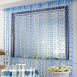 New Thread Curtain Home Decoration window bedroom Door Curtain Romantic Heart-shaped Thread String Curtain 100cm*200cm free ship Blue