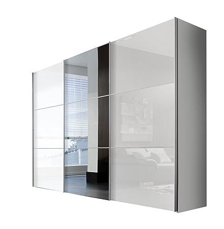 Express Möbel Kleiderschrank Schlafzimmerschrank Weiß Hochglanz 300 cm mit Spiegel, BxHxT 300x216x68 cm, Art Nr. 01730-184