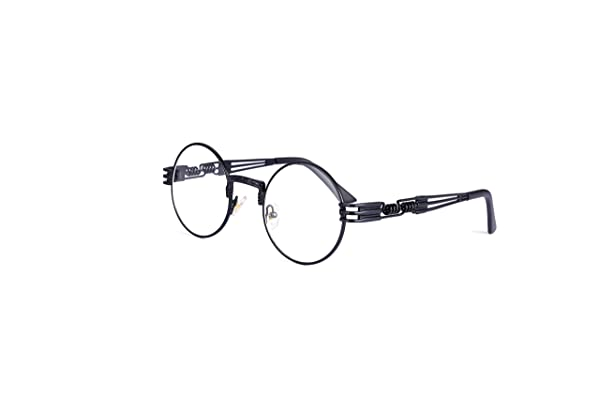 c2e1156459f6 HUA JU Vintage John Lennon Style Metal Spring Frame Round Steampunk glasses  with Clear Lens (Black ...