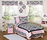 Pink and Black Sophia Childrens and Teen 3 Piece Full / Queen Girls Bedding Set