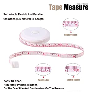 NEW Tape Measure 60 Inch Push Button Tape Body Soft Retractable Tape Measure for Sewing Double-Sided Tailor Cloth Ruler 150 cm