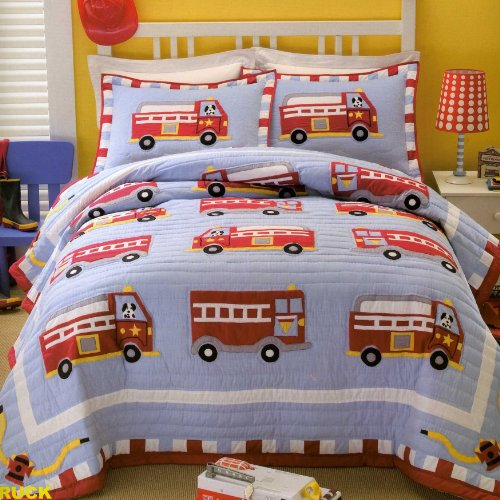PEM America QS0439TW-2300 Cotton Fire Truck Twin Quilt with Pillow Sham