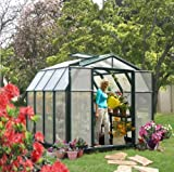 Rion GH44HG 8'6' ' W x 8'6' ' L Hobby Greenhouse, 1 Roof Vent - Hunter Green