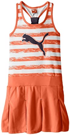 PUMA Big Girls' Striped Pleated Tank Dress, Orange Ice, Small