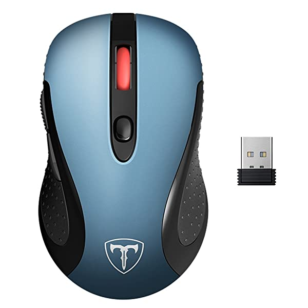 VicTsing 2.4G Wireless Mouse Wireless Optical Laptop Mouse with USB Nano Receiver, 6 Buttons,5 Adjustable DPI Levels,15 Months Battery Life-Blue (Color: Blue)