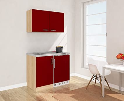 Respekta Mini Kitchen Kitchen 100 cm including Wall Cabinet Front Red Mk 100 Esrosc Imitation Rough Sawn Oak