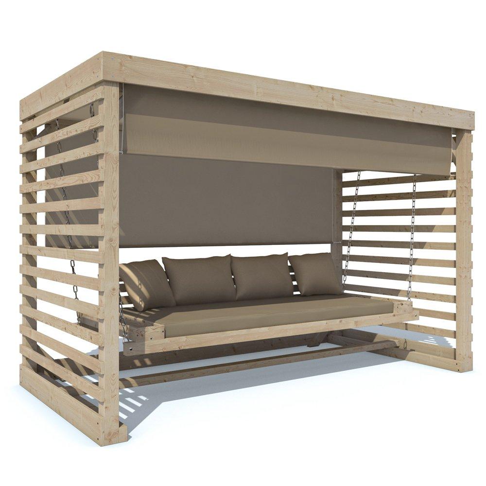 Hollywoodschaukel Tiffany Holz Gartenschaukel Schaukelbank Gartenmöbel 4-Sitzer (Auflage in beige) online kaufen