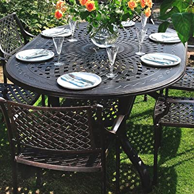 Lazy Susan Furniture - Jessica 180 x 120cm Oval 6 Seater Cast Aluminium Furniture Set with Mary Chairs