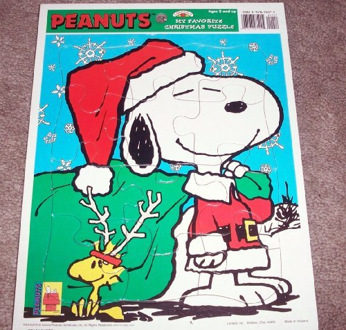 Peanuts - My Favorite Christmas Frame Tray Puzzle Featuring Snoopy As Santa Claus and Woodstock - 1