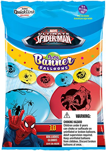 Party Banner Balloons 10 Count Marvel's Spider-Man QuickLink Banner Balloons, 12-Inch - 1