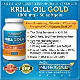 #1 Krill Oil 1000mg - Double Strength Krill GOLD, 60 Softgels - IKOS 5-Star Certified, Multi-Patented, GMO-free, Hexane-free, Cold-Pressed NKO Neptune Krill Oil with Astaxanthin
