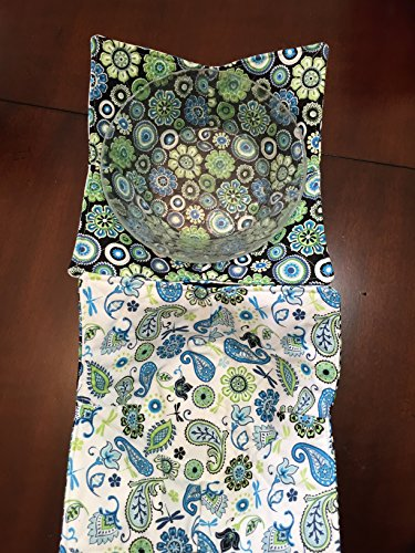 Green Blue Floral Burst,handmade,Hot Cold Bowl Cozy,Microwave Bowl Cozie,Fabric Trivet,Hot pad,Pot Holder,Cotton Fabric,Reversible, Washable (Toaster Cozy compare prices)