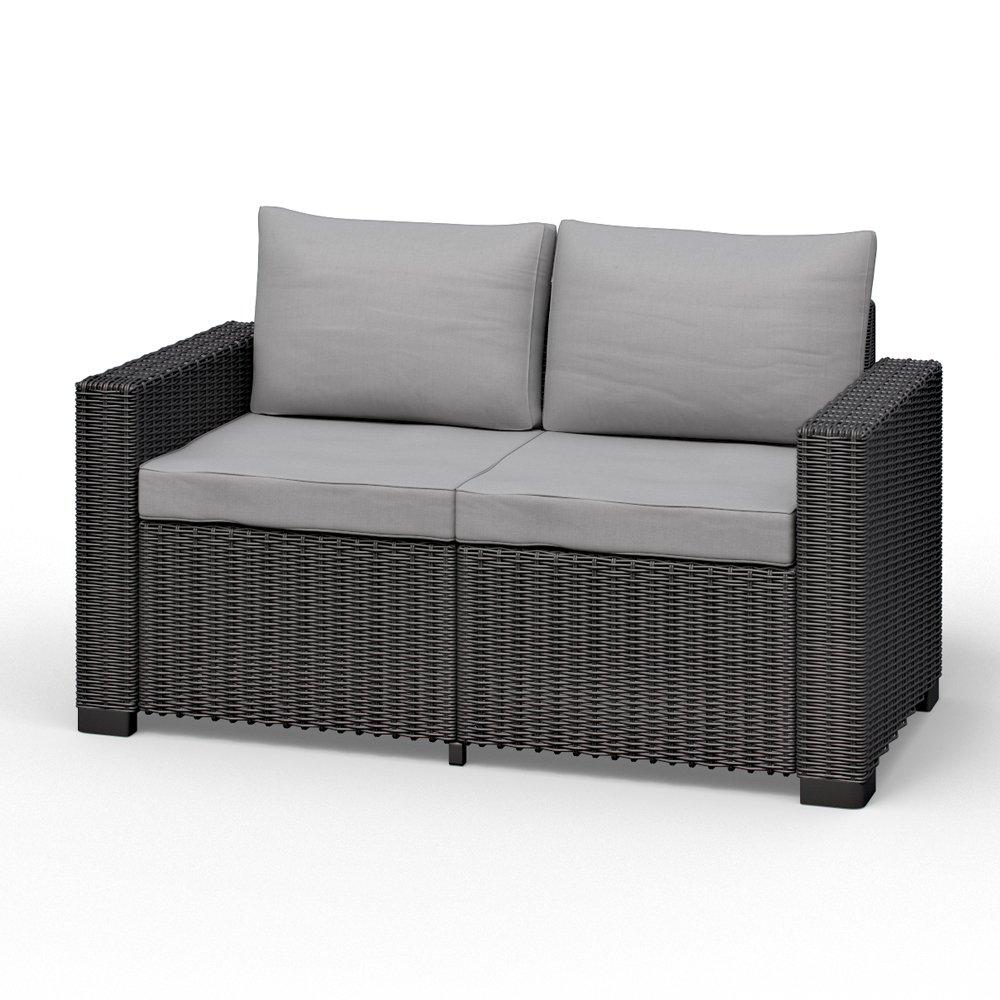 Allibert California 2-Sitzer Couch Polyrattan Gartenmöbel Lounge Rattanoptik kaufen