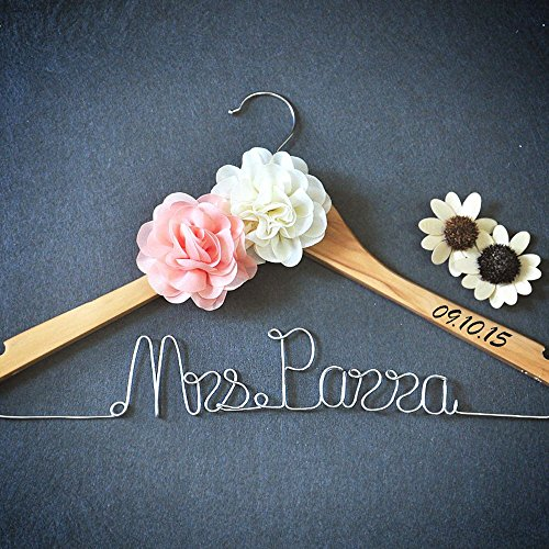 Custom Wedding Hanger With Flower, Personalized Wedding Dress Hanger Bridal Dress Hanger, Custom Bridal Shower Gift