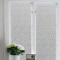 Bloss No glue static glass film Sun insulation window sticker affixed grilles bathroom color printing(17.7\'\'x 78.7\'\')