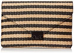 LOEFFLER RANDALL Lock Polyester Clutch, Black/Natural, One Size