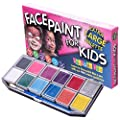 Face Paint Kit for Kids (XX-Large) Best Quality Face Painting Set -12 Colors +BONUS Glitter Gel +3 Brushes +FREE Online Guide. Professional Cosmetic Grade, Non-Toxic. Covers 100s Boys & Girls Faces by Thrive Enterprises