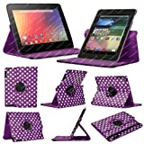 Stuff4 MR-NX7-L360-PD-PW-STY-SP Polka Dot Designed Leather Smart Case with 360 Degree Rotating Swivel Action and Free Screen Protector/Stylus Touch Pen for 7 inch Google Nexus 7 - Purple/White