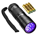 TaoTronics Black Light, UV Blacklight Flashlights, 12 LEDs 395nm, 3 Free AAA Batteries, Detector for Dry Pets Urine & Stains & Bed Bug (Color: BLACK, Tamaño: Small)