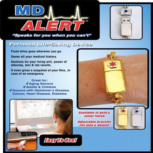 USB DRIVE MD ALERT BRACELET - GOLD PLATED (SPEAKS FOR YOU WHEN YOU CAN'T!)
