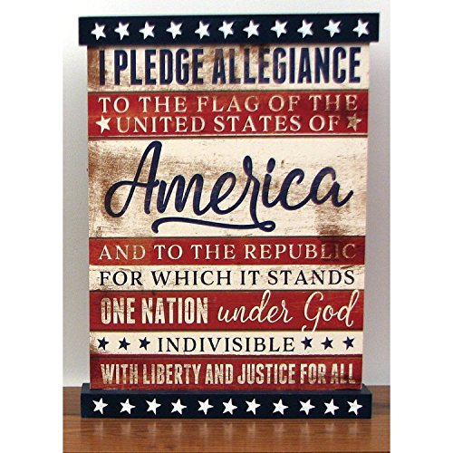 I Pledge Allegiance Wood Sign - Wall Patriotic America Flag Plaque (Red Toolbox Birdhouse compare prices)