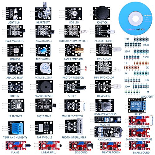 Quimat 37 Sensor Module The Starter Kit Robot Projects for Arduino Uno R3 Raspberry Pi 3 2 Mega Due Nano Arduino Programming With Tutorials (Pic Microcontroller Starter Kit compare prices)