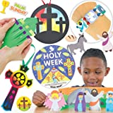 Holy Week Craft Super Value Pack. Save 33% when bought in pack! Includes 6 Holy Week stained glass effect decorations, 12 scratch art crosses, 4 palm leaf weaving magnets, 3 Holy Week bracelet kits, 2 Easter Sunday 3D scenes, 3 Holy Week story wheels and