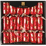 Tom Smith 6 x 14-inch Flocked Deluxe Crackers, Red