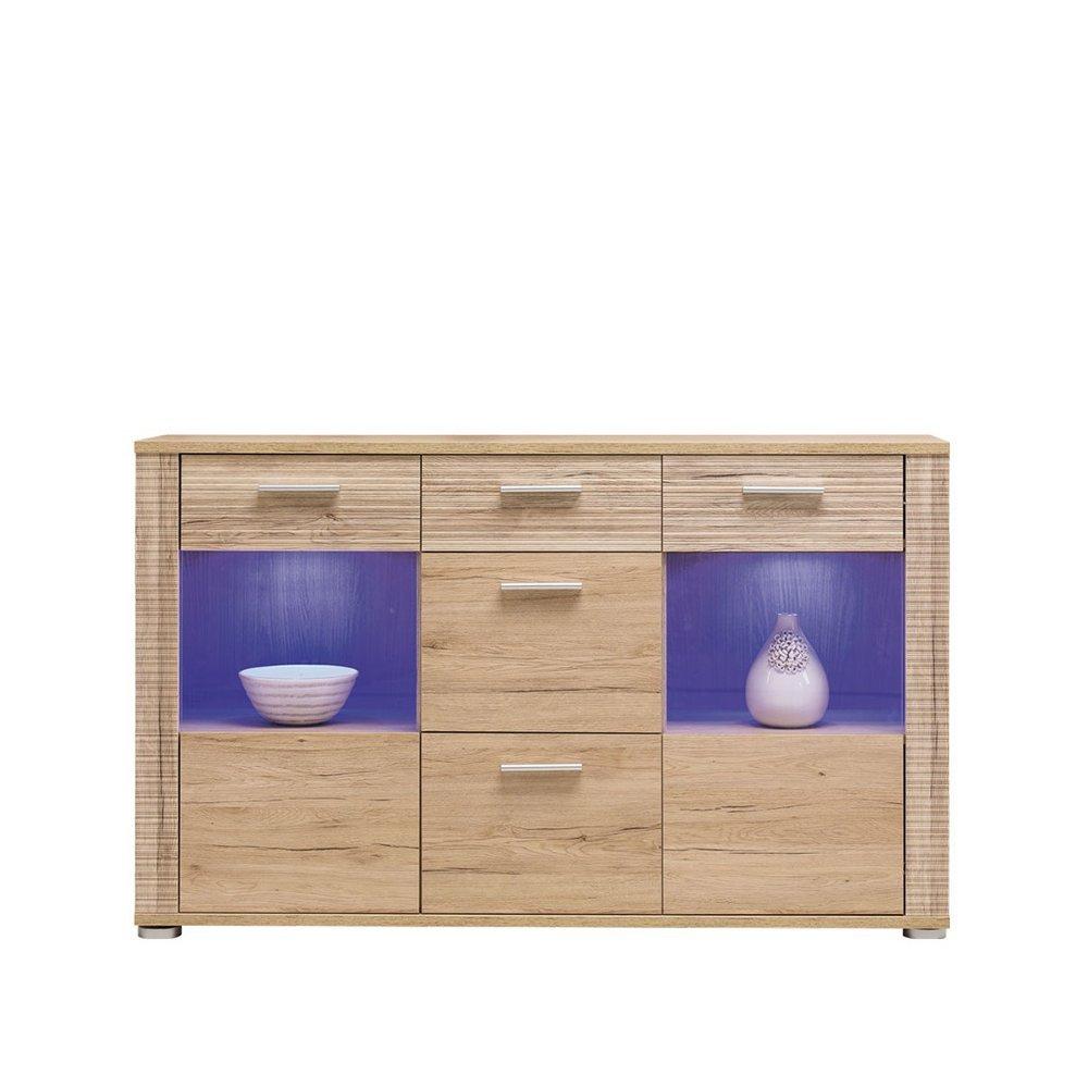 JUSThome NC V Nicol Kommode Sideboard Wohnzimmerschrank (HxBxT): 92x150x39 cm Farbe: Sanremo Eiche